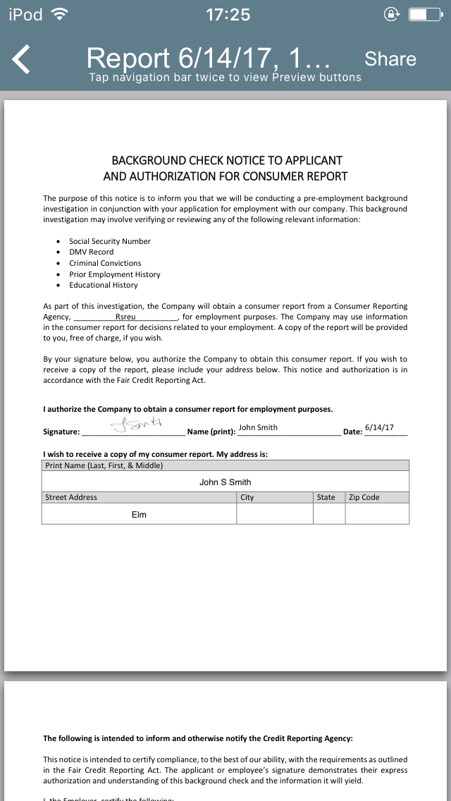 Background Check Notice to Applicant App