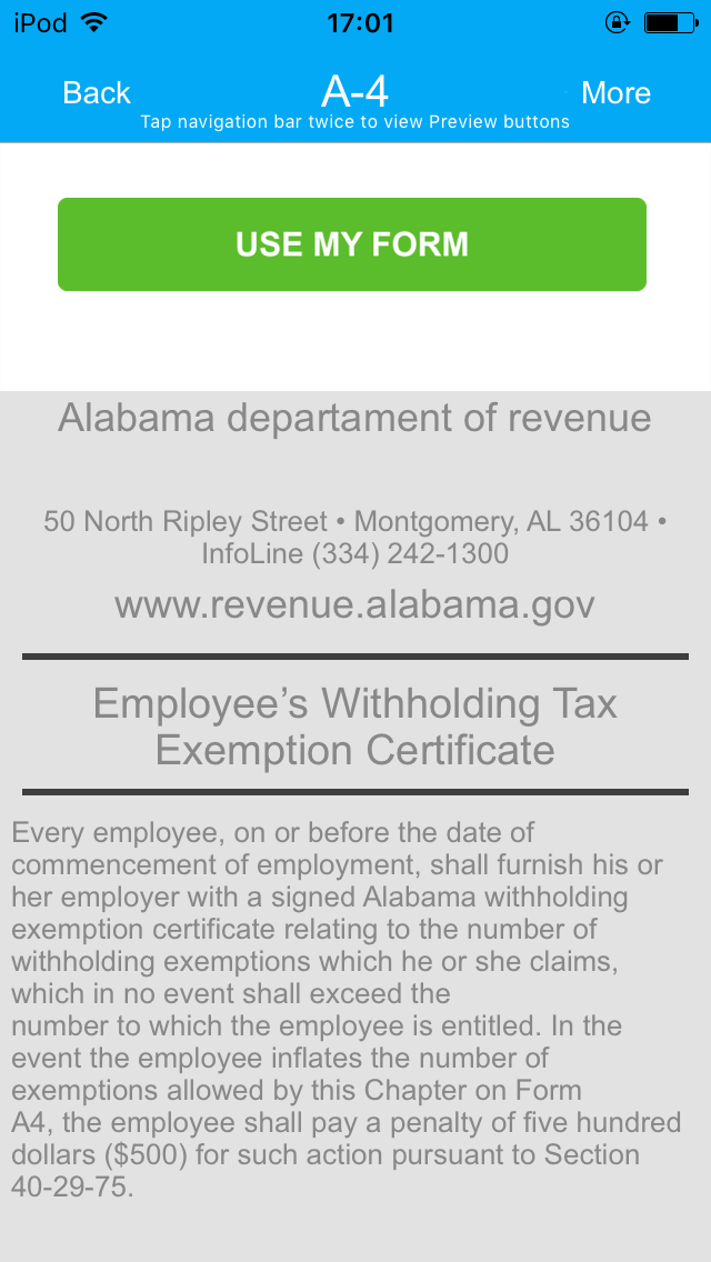Alabama Form A-4 App