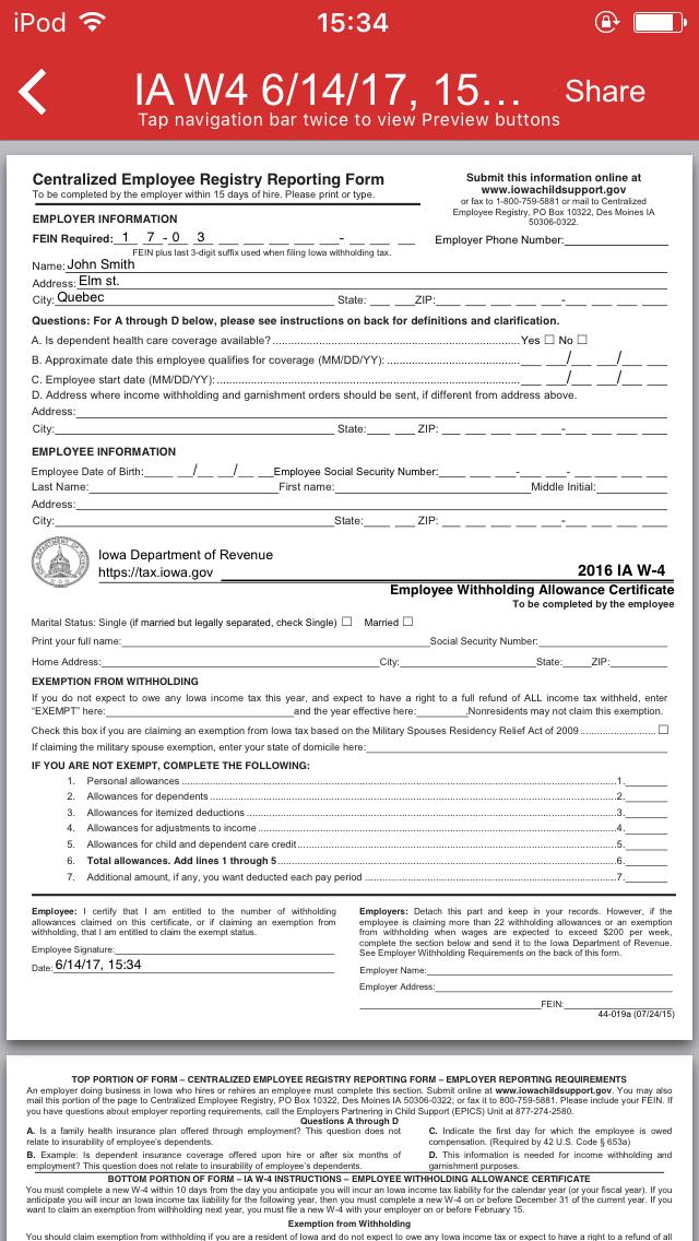 Iowa Form W-4 App