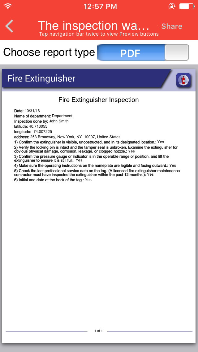 Fire Extinguisher Inspection App